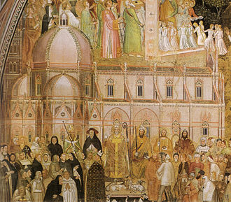 The Duomo, as if completed, in a fresco by Andrea di Bonaiuto, painted in the 1360s, before the commencement of the dome Andrea di bonaiuto, dettaglio dal cappoellone degli spagnoli.jpg