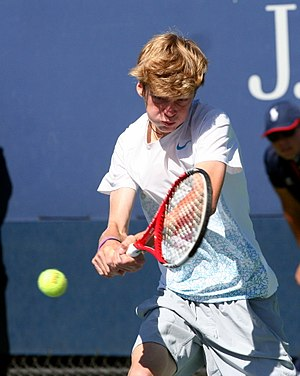 Andrey Rublev (tennis) - Rublev playing at the junior US Open in 2013.