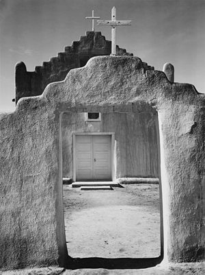 "Front view of entrance, ""Church, Taos Pue..."