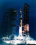 Apollo 9 at pad 39A on the night before launch.jpg
