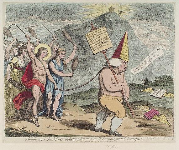 Карикатура, изображающая, как Аполлон и музы гоняют Джонсона вокруг Парнаса