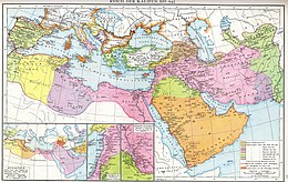 Multi-color map of the Mediterranean and the Middle East, showing the phases of Muslim expansion to the 10th century