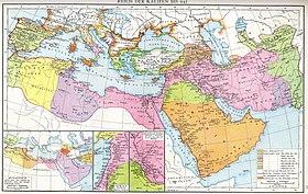 Harta multicoloră a Mediteranei și a Orientului Mijlociu, care arată fazele expansiunii musulmane până în secolul al X-lea