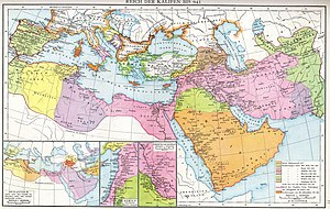 Al-Mu'tasim - Map of the Muslim expansion and the Muslim world under the Umayyad and early Abbasid caliphates, from the Allgemeiner historischer Handatlas of Gustav Droysen (1886)