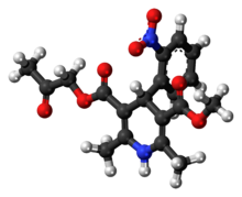 Ball-and-stick model of the aranidipine molecule