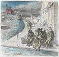 Ardizzone recorded this visit to Bremen in his diary on 26 April 1945- 'To Bremen again with Brian de Grineau. The city a dead one - ruins everywhere, a drunken Dutchman reeling down the street...Little groups of freed Art.IWMARTLD5255.jpg