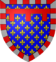 Blason corrigé: Semé de France, à la bordure componée d'argent et de gueules, au lambel de gueules.