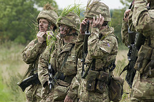 Reservist - British Army Reservists applying camouflage during a training exercise.
