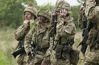 Army Reserve (United Kingdom) - Army Reservists applying camouflage during a training exercise