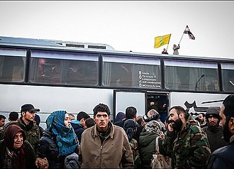 Aleppo offensive (November–December 2016) - Arrival of residents of Al-Fu'ah and Kfrya to Aleppo after its capture by the Syrian Army