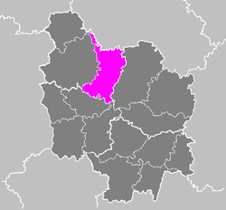 Location of Avallon in Burgundy