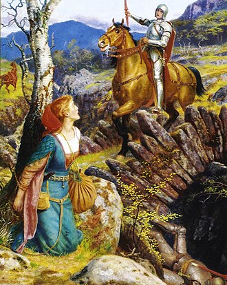 Gareth - Overthrowing of the Rusty Knight by Arthur Hughes (c. 1894-1908)