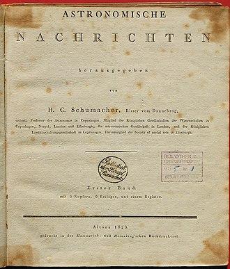 Astronomische Nachrichten - Title page from 1823
