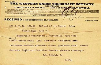 Telegram style - Image: Astronomical Telegram John Ritchie