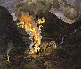 Bonfire celebrating Midsummer Night