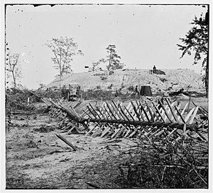 Atlanta in the American Civil War - Confederate fortifications around Atlanta, Georgia, in 1864. The wagon and portable darkroom of photographer George N. Barnard is visible in the photograph.