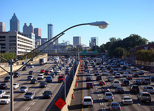Controlled-access highway - Traffic congestion, such as this on the Downtown Connector in Atlanta, is tied to photochemical smog.
