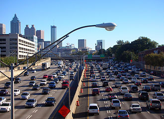 Highway - The I-75/I-85 Downtown Connector in Atlanta, Georgia, in the United States