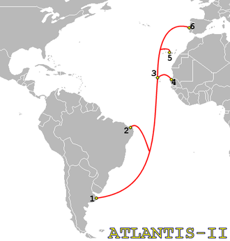 Telecommunications in Senegal - Image: Atlantis II map