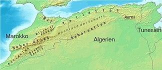 Das Atlasgebirge topografisch und politisch