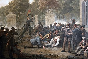Belgian Revolution - Belgian rebels on the barricade of the Place Royale facing the Parc de Bruxelles in Brussels (1830).