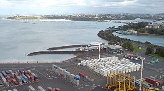 Auckland Marine Rescue Centre - The centre from the west, from one of the Ports of Auckland container cranes.