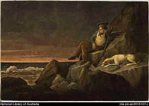 Augustus Earle - Augustus Earle, (Self Portrait) Solitude, watching the horizon at sun set, in the hopes of seeing a vessel, Tristan de Acunha (i.e. da Cunha) in the South Atlantic, (1824): watercolour; 17.5 x 25.7 cm. National Library of Australia