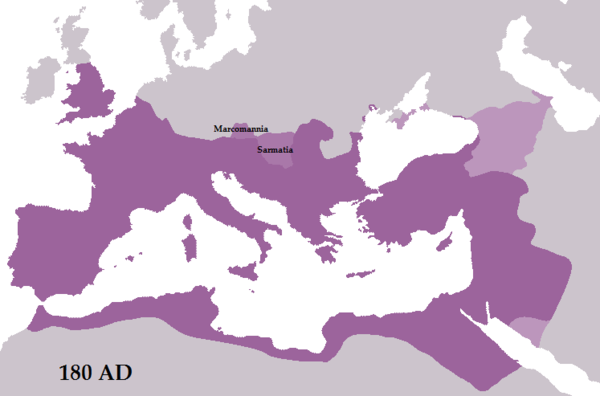 The Roman Empire at the death of Marcus Aurelius in 180, represented in purple. His annexation of lands of the Marcomanni and the Jazyges - perhaps to be provincially called Marcomannia and Sarmatia - was cut short in 175 by the revolt of Avidius Cassius and by his death. The light pink territory represents Roman dependencies: Armenia, Colchis, Iberia, and Albania. Aurelius180AD.png