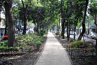 "Garden city movement - Park median in Avenida Ámsterdam, the ""grand avenue"" of the Mexico City subdivision Colonia Hipódromo de la Condesa, designed in 1926 and inspired in part by Ebenezer Howard's Garden City"