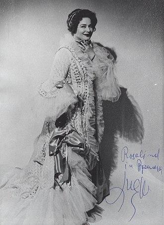"""Ljuba Welitsch - Welitsch starring in the role of Rosalind in the operetta """"Die Fledermaus"""" by J. Strauss"""