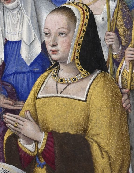 BNF - Latin 9474 - Jean Bourdichon - Grandes Heures d%27Anne de Bretagne - f. 3r - Anne de Bretagne entre trois saintes (d%C3%A9tail)