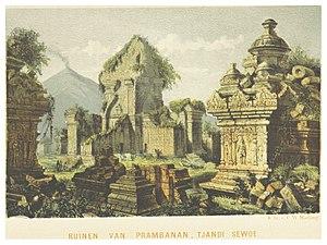 Medang Kingdom - A lithograph of Tjandi Sewoe ruins near Prambanan, circa 1859