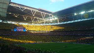 2013 UEFA Champions League Final - Borussia Dortmund fans in Wembley before kick-off