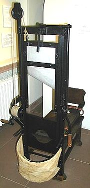 Guillotine: between 18,000 and 40,000 people were executed during the Reign of Terror