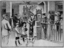 Sketch of a group of people at an underground railway station. A young woman in fashionable clothes is putting a ticket in a box as she prepares to go through a gate. A uniformed inspector looks on while two children with a dog wait for their turn with tickets in hand. Other people are visible in the background.