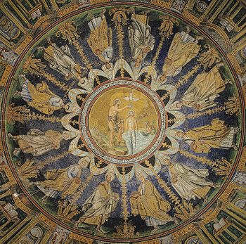 The ceiling mosaic in the Baptistry of Neon. Ravenna, Italy. Built around 6th century A.D. UNESCO World heritage site.