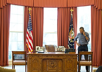 International reactions to the annexation of Crimea by the Russian Federation - U.S. President Barack Obama speaks with Russian President Vladimir Putin on the telephone in the Oval Office, 1 March 2014