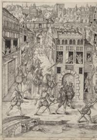 Gravure repr�sentant l'attentat perp�tr� contre Coligny.