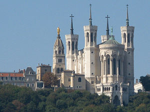 Basilica of Notre-Dame de Fourvière - Chapelle de la Vierge topped with statue of Mary -left of the Basilica