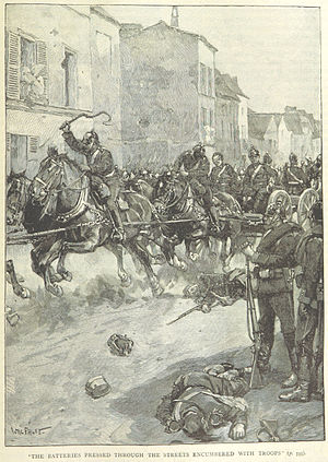 Battle of Wörth - Prussian V Corp artillery advances through the streets of Wörth