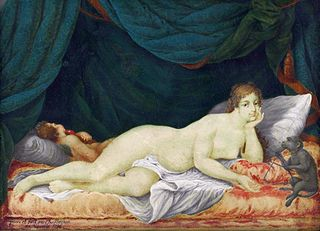 Reclining Venus with Cupid and a monkey
