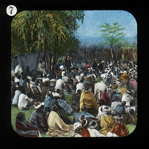Around 1900, the London Missionary Society produced a series of glass magic lantern slides depicting the missionary efforts of David Livingstone such as this one. Bechuana Congregation (relates to David Livingstone) by The London Missionary Society.jpg