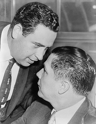 Jimmy Hoffa - Hoffa (right) and Bernard Spindel after a 1957 court session in which they pleaded not guilty to illegal wiretap charges