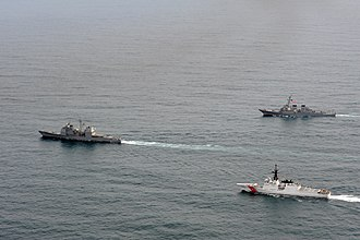 Legend-class cutter - The Bertholf underway in formation with the Navy during Operation Northern Edge 2011