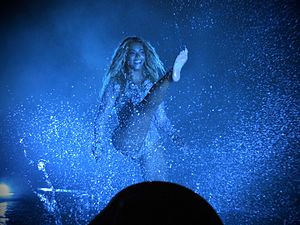 "Freedom (Beyoncé song) - Beyoncé performing ""Freedom"" in a shallow pool of water on the B-stage of The Formation World Tour."