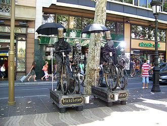 Culture of Barcelona - Street performers on La Rambla.