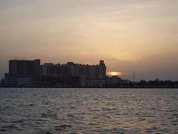 English: Biloxi at night from the water
