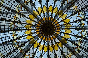 Bishopsgate Institute - The stained glass dome in the library.