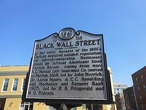 "North Carolina Mutual Life Insurance Company - ""Black Wall Street"" historic marker in Durham, NC"