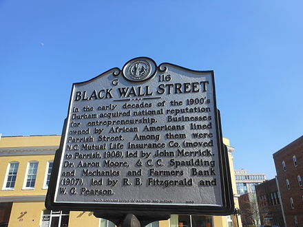 "Historic ""Black Wall Street"" in Durham Black Wall Street Durham.JPG"